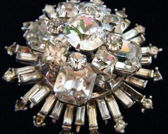 Stunning Vintage Antique Estate Art Deco Stacked Crystals Rhinestones Brooch Pin
