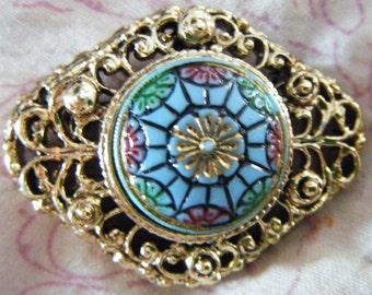 Vintage Enameled Brooch or Pin or Pendant With Robins Egg Blue Green Rose Dark Blue Framed in Filagreed Gold