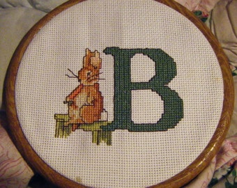 Peter Rabbit Cross Stitch in Hoop Wall Hanging with the Letter B
