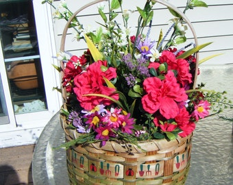 Basket Full of Spring Flowers and Greenery That Will Last Forever
