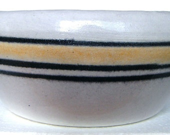 Vintage Stoneware Yellow and Black Banded Bowl 8 1/4 Inches in Diameter
