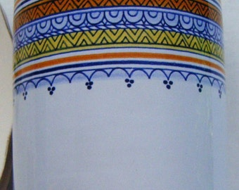 Boschi Faience Beautiful Vase With Blues Orange Yellow and White