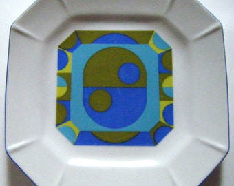 Art Deco Blues and Greens Octagonal Dish or Plate Fab Design