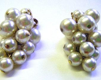 Vintage Cluster of Pearls Clip Earrings So Beautiful