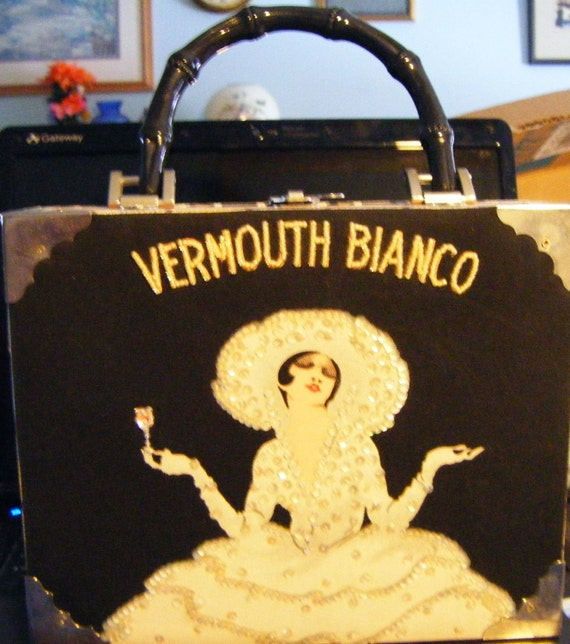 Vintage Cigar Box Handbag/Purse with Silver Corners and Vermouth Bianco Design