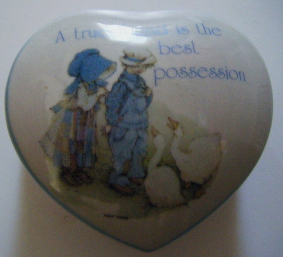 Holly Hobbie A True Friend Is the Best Possesion Blue Girl Stoneware Heart Shaped Covered Trinket or Jewelry Dish or Box