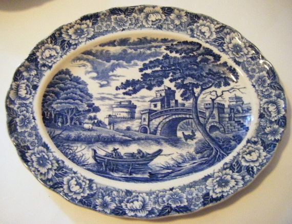 Antique Staffordshire Blue and White Transferware Platter Pastoral Scene With Bridge Fishermen Houses