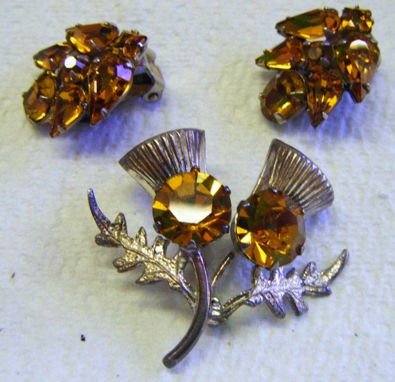 Antique Scottish Sterling Silver Thistle Brooch and Matching Earrings With Citrine Stones Marked WB