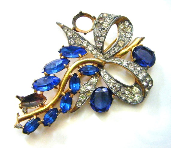 Beautiful Blue and Sparkly Antique Brooch With Rhinestone Bow Vintage Large