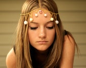 Gold Chain Head Piece with Pink Crystal, Pearls, and Cream Beads