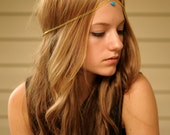 Gold Chain Head Piece with Turquoise Bead BACK IN STOCK