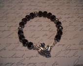 Brown Glass Bead Bracelet with Silver Leaf Toggle Clasp