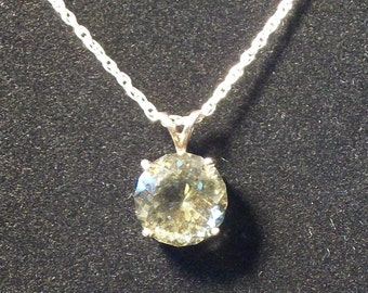 Faceted Citrine Gemstone necklace on silver chain