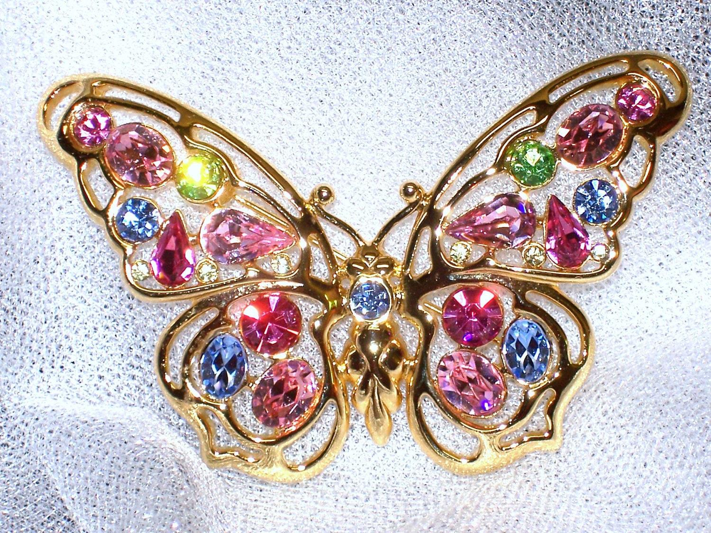 Vintage Butterfly Brooch Rhinestone Pin Nolan Miller Vintage