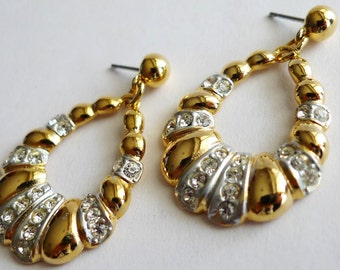 SPHINX Gold and Silver with Rhinestones Vintage Earrings