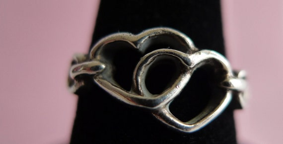 Sterling Silver Two Hearts Ring Size 6.5