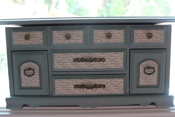 Gorgeous Vintage Jewelry Box, Jewelry Armoire, Duck Egg Blue