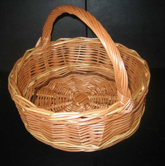 Small Wicker Willow Bread Fruit Table Display Pot Puree Tidy Basket, Round, 3 colours, Handle, (ref.37 )