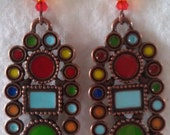 Totem pole earrings with glass beads