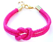 Neon Pink Rope Bracelet with Gold Anchor - Skipper Bracelet