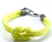 Soft Neon Yellow Rope Bracelet with Silver Anchor - Skipper Bracelet
