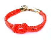 Neon Orange Nautical Rope Bracelet with Gold Anchor - Skipper Bracelet