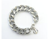 Nautical Silver Chain Bracelet with Silver Anchor - Boardwalk Bracelet