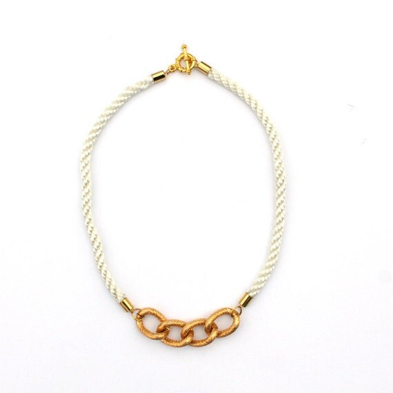 Nautical White Rope with Gold Chain Necklace - Weatherbee Necklace