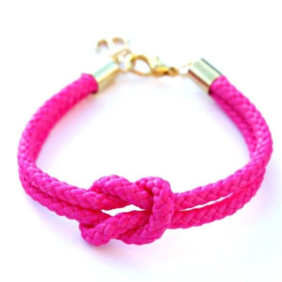 Neon Pink Rope Bracelet with Gold Anchor - Skipper Bracelet