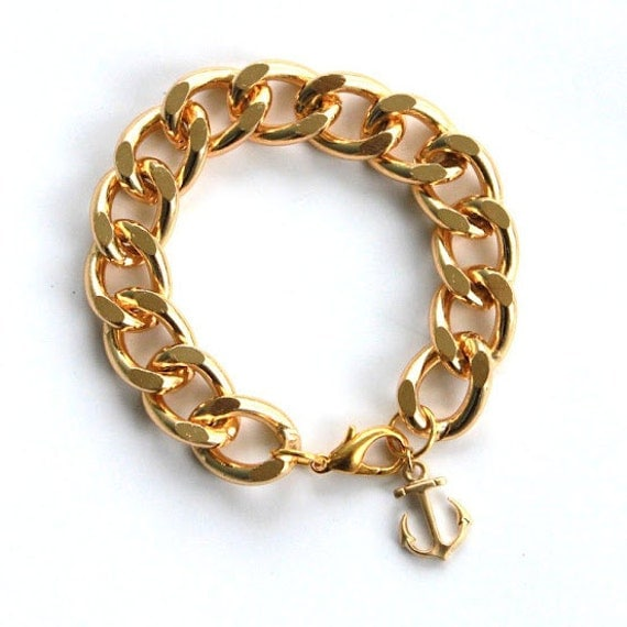 Nautical Gold Chain Bracelet with Gold Anchor - Boardwalk Bracelet