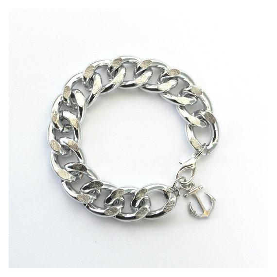 Nautical Silver Chain Bracelet with Silver Anchor - Boardwalk Bracelet