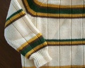Vintage Newport 18m Boys Knit Sweatshirt w/ Green, Yellow and Brown Stripes