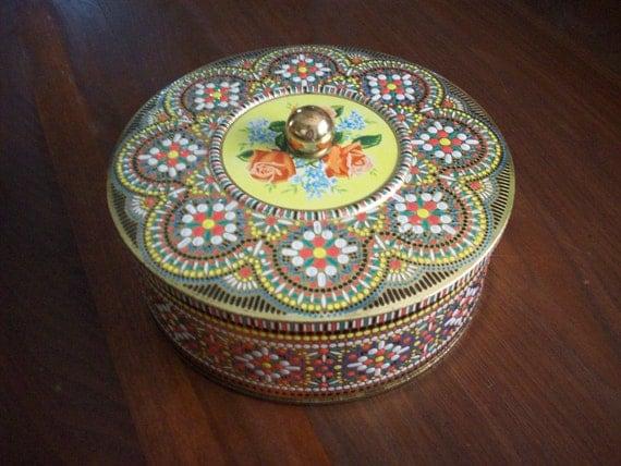 Vintage Colorful Round Tin w/ Rose Design