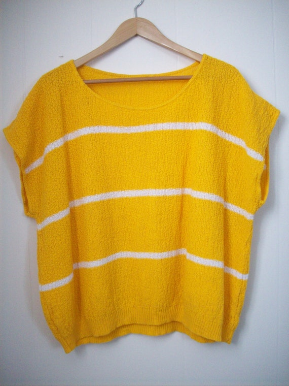 Vintage Yellow and White Striped Short Sleeve Knit Sweater