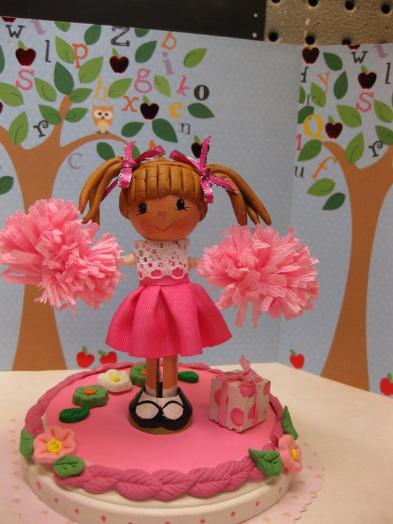 Items similar to Cheerleader Clothespin Doll Cake Topper ...
