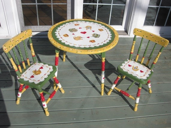Items similar to hand painted children 39 s table and chairs - Paint for childrens furniture ...