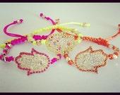 Neon Hamsa, Evil Eye Friendship Bracelet. Made of Silk Cord. Neon Orange ONLY