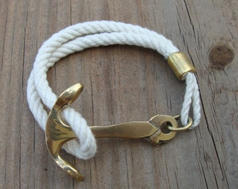 Nautical Rope Brass Anchor Bracelet
