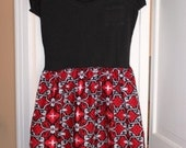 SALE End of Season (10 off)! - Lg. Red and Black damask tshirt dress - gameday generic