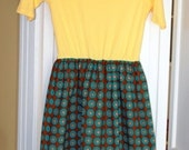 SALE End of Season (10 off)! - SM Yellow and Chocolate Brown Mod Design tshirt dress - Junior size