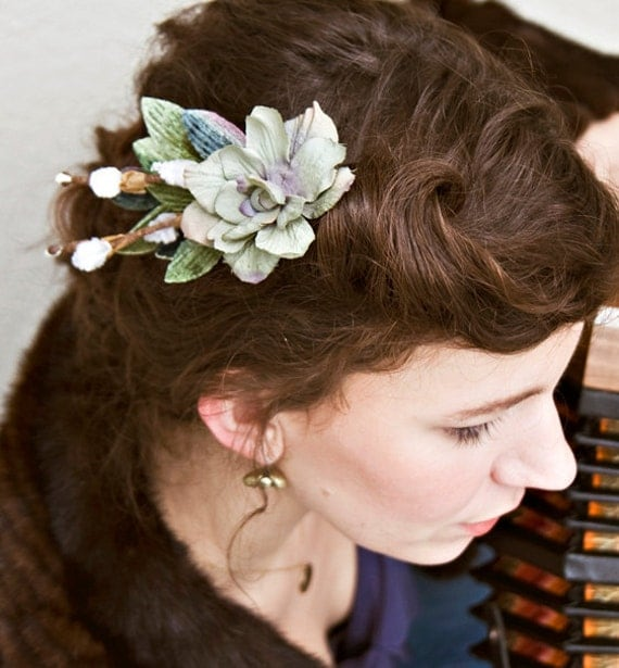Woodland Romance: Moonflower and Pussywillow Comb bridal hair accessory. Made to order.