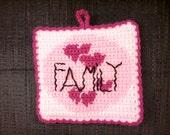 Crochet Valentines Day Family Hearts Potholders