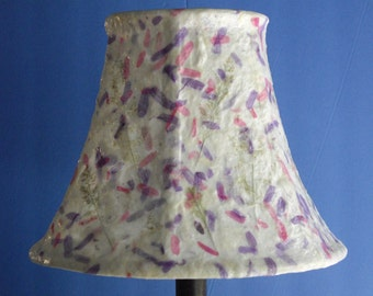 Botanical Lampshade - Small/Medium Decoupage Bell Shade using Handmade Paper with Straw and Purple & Pink Leaves