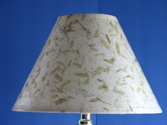 Decoupage Lampshade using Handmade Paper Containing Green Leaves & Straw