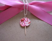 Polymer Clay Pink and Red Lollipop Heart Charm Necklace