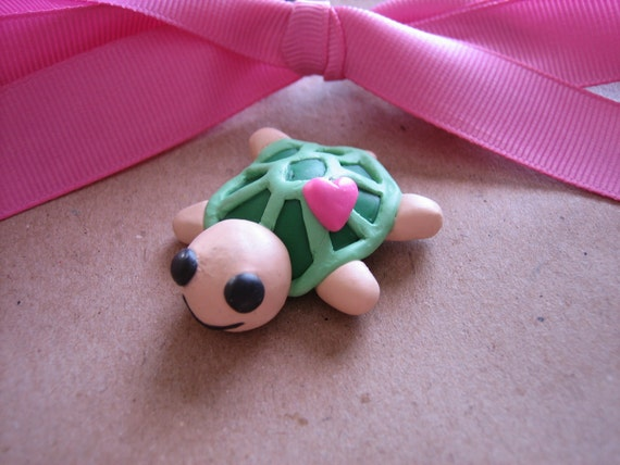 Polymer Clay Cute Turtle Heart Charm Magnet