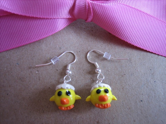 Polymer Clay Cute Hatching Yellow Baby Chick Charm Dangle Earrings