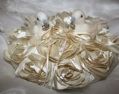 ring bearer ring pillow Doves on a  Bed of Roses