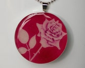 pink rose Liberty necklace, silver and resin