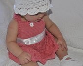 Baby Girl's Dress or Jumper Crocheted Coral SZ 6 - 9 mos